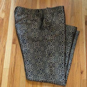 Judith & Charles Gold Brocade Cropped Pants Sz 8